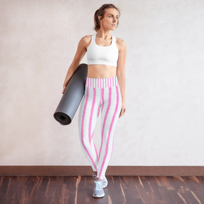 Pink and White Stripe Printed Leggings