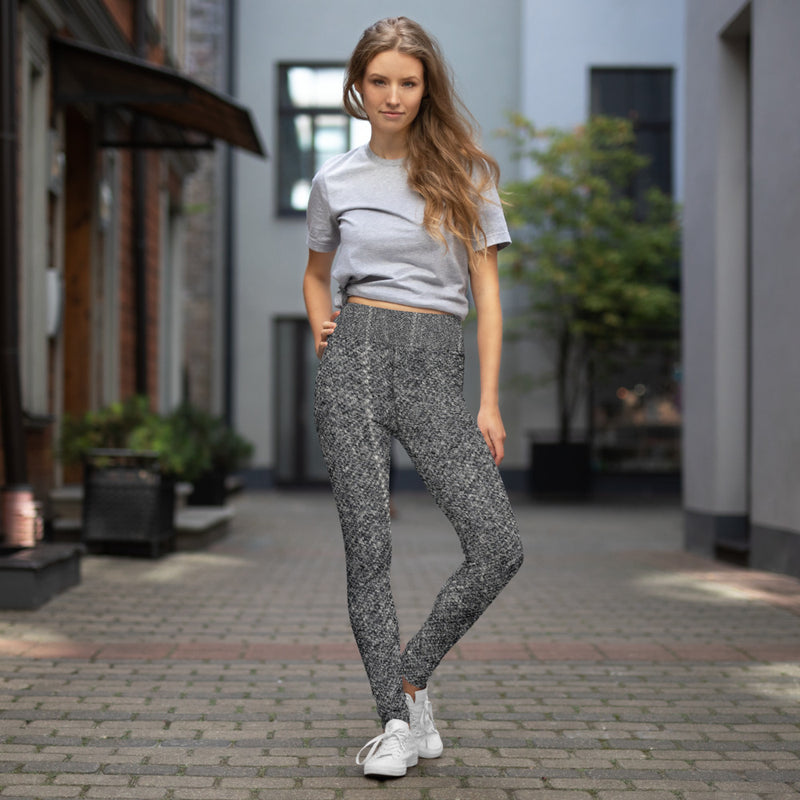 Grey Chalk Stripe Wool Look Printed Leggings