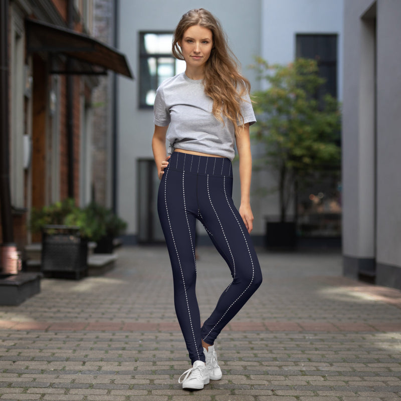 Navy Blue Pin Stripe Printed Leggings