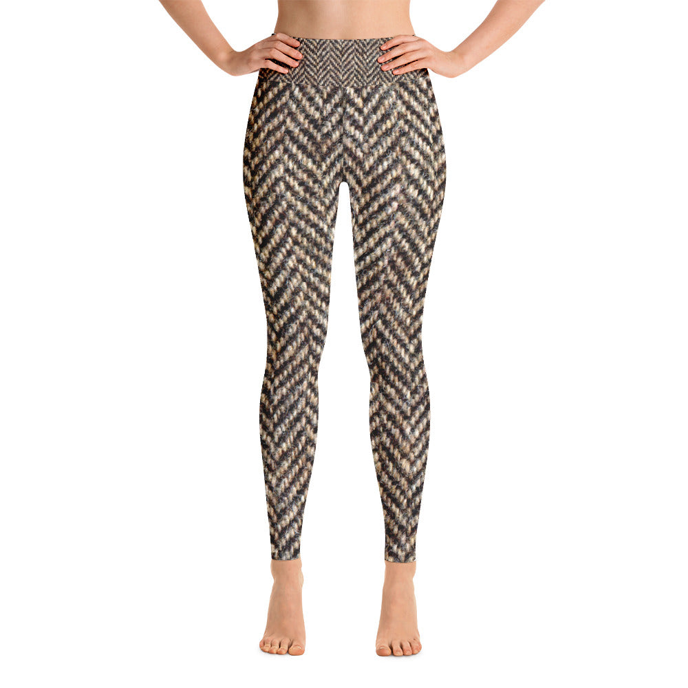 Herringbone Tweed Wool Look Printed Leggings