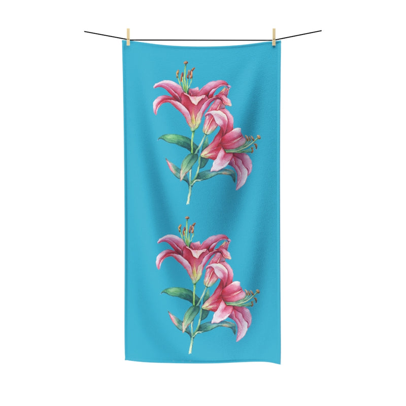Turquoise Pink Lilies Cotton Towel