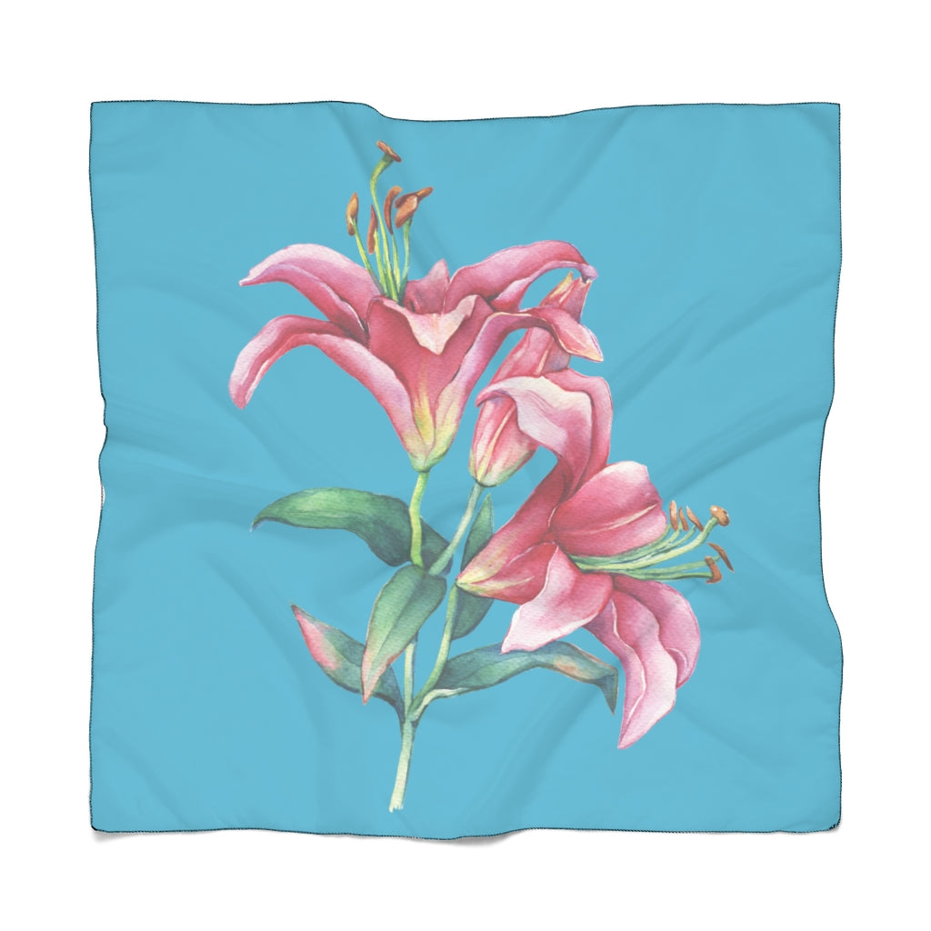 Turquoise Pink Lilies Scarf