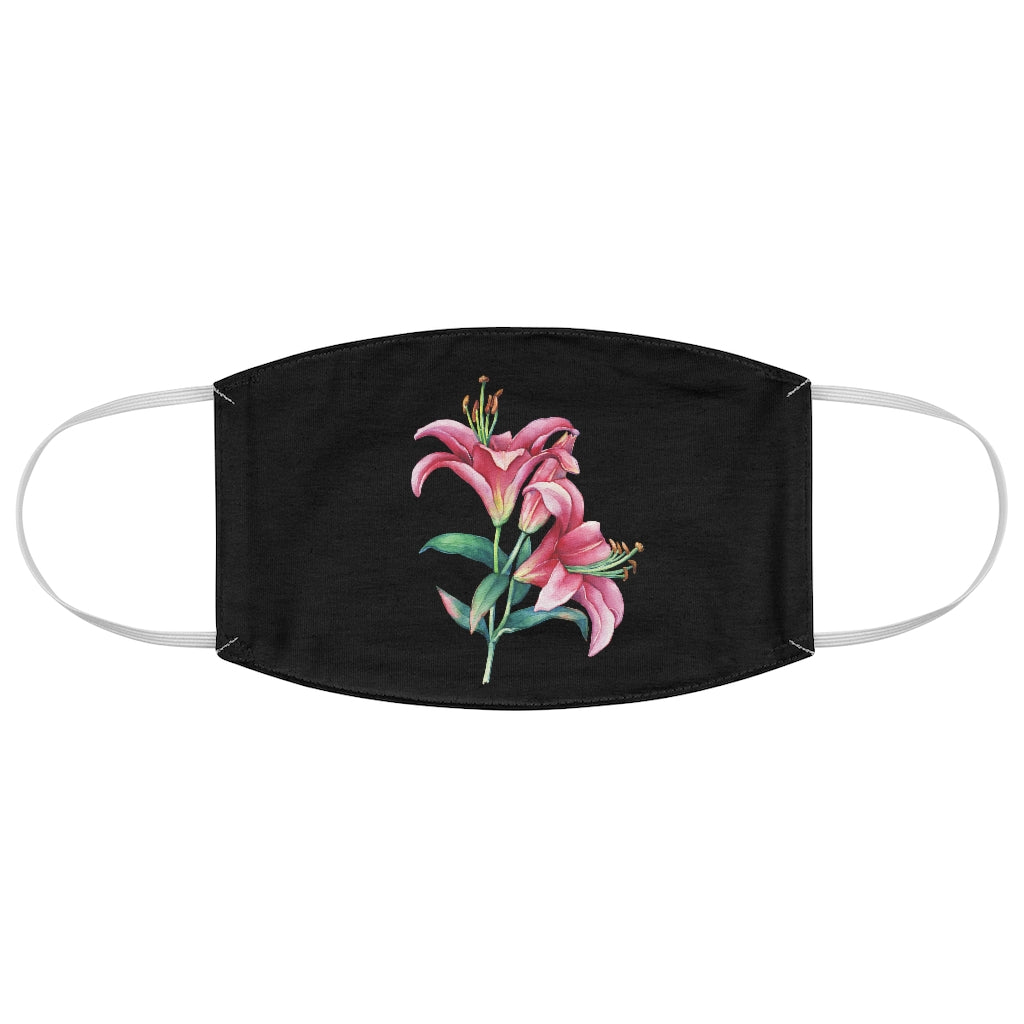 Black Lily Fabric Face Mask