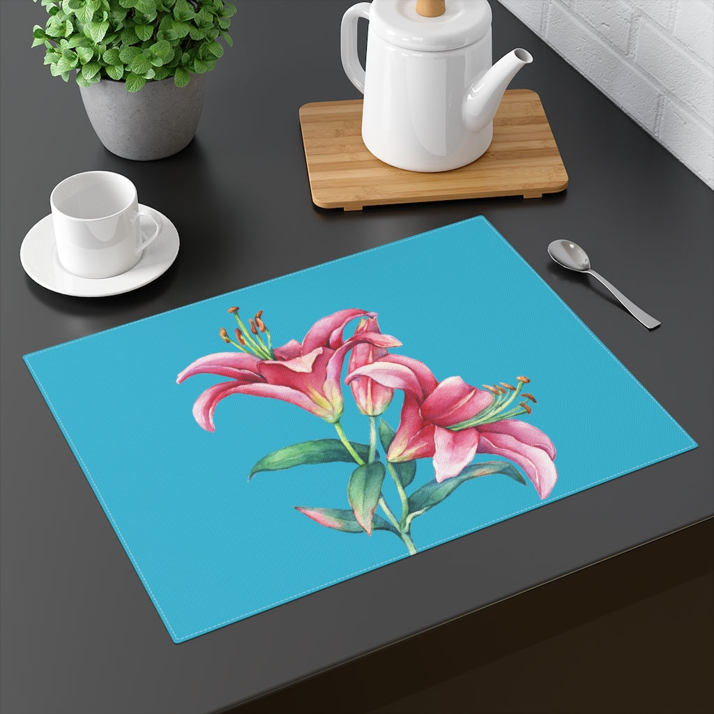 Turquoise Pink Lilies Placemat