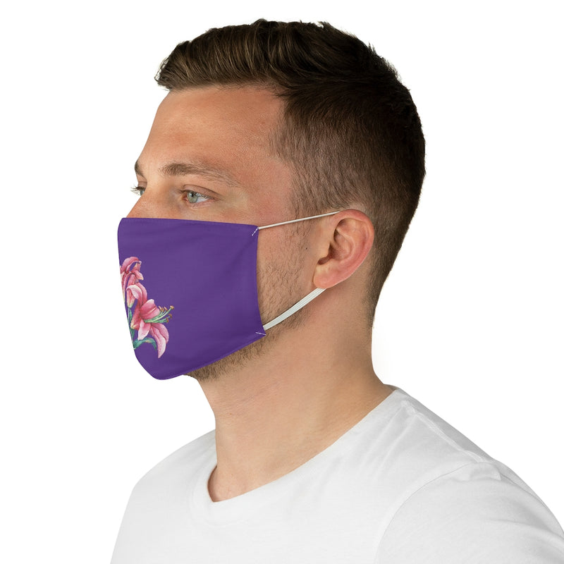 Purple Lily Fabric Face Mask