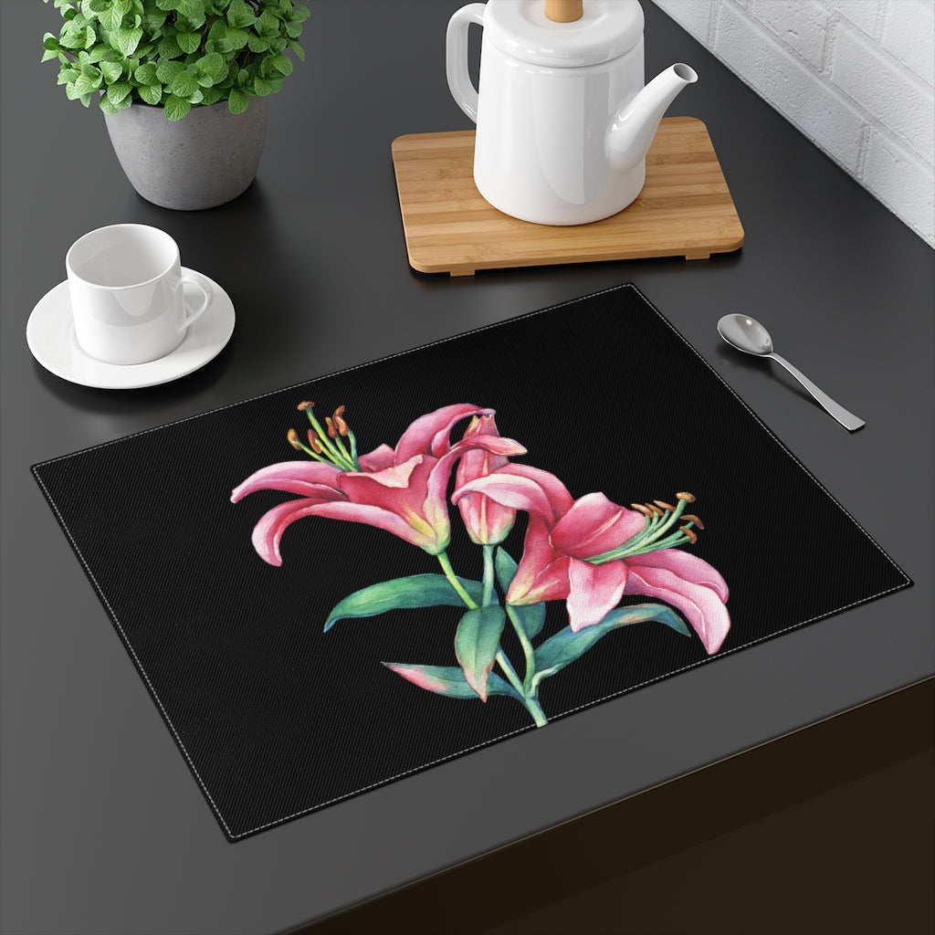 Black Pink Lilies Placemat