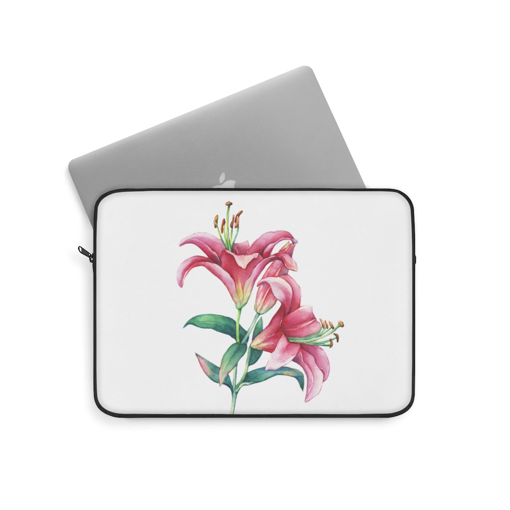 White Pink Lilies Laptop Sleeve