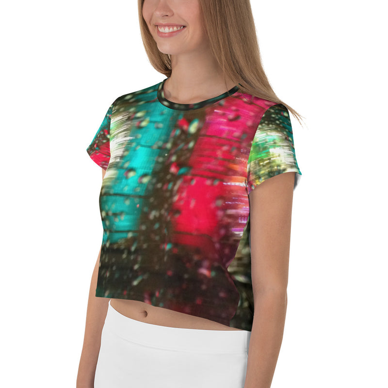 """Harvey Nichols, London, In The Rain"" Green Printed Crop T-Shirt"