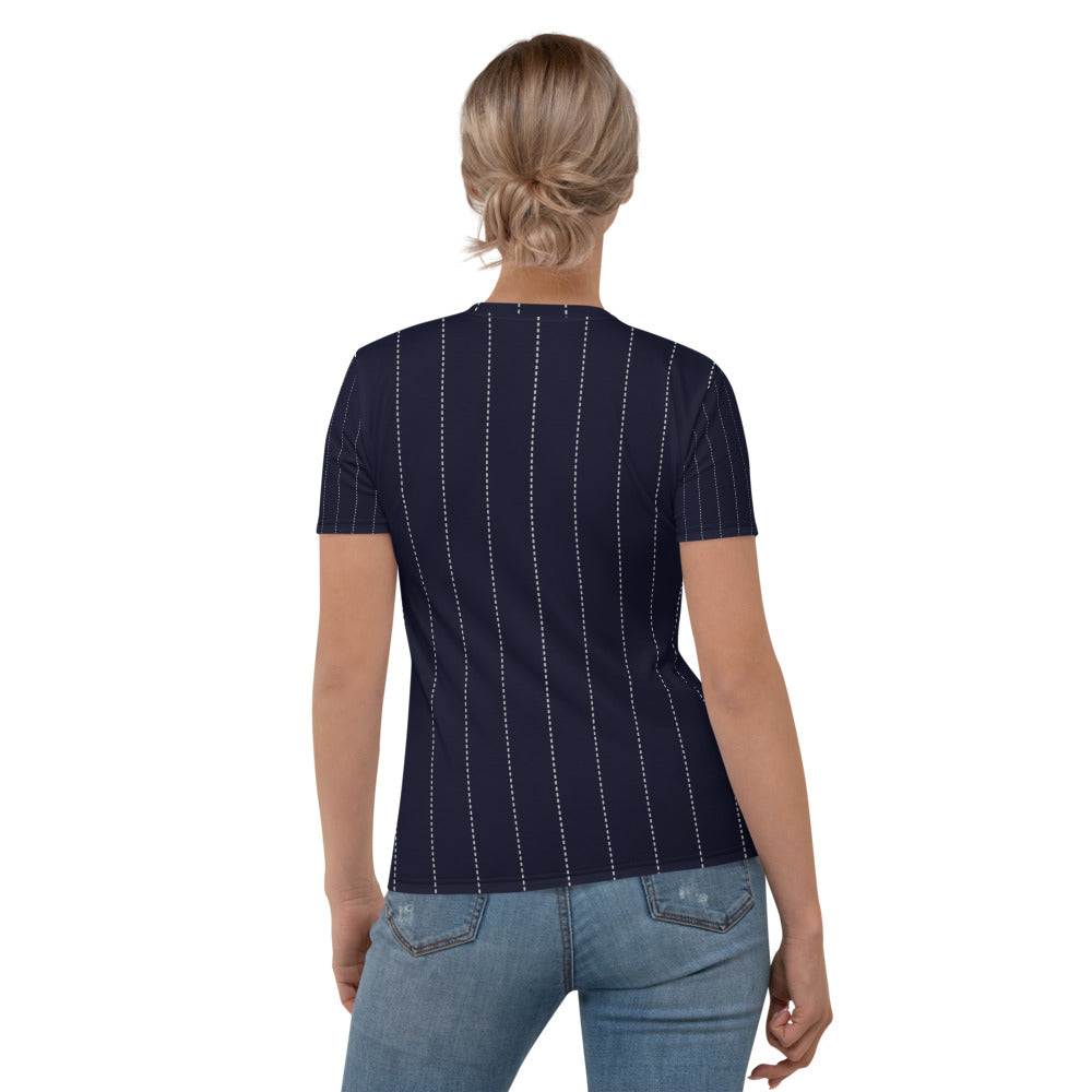 Navy Pin Stripe Printed T-shirt
