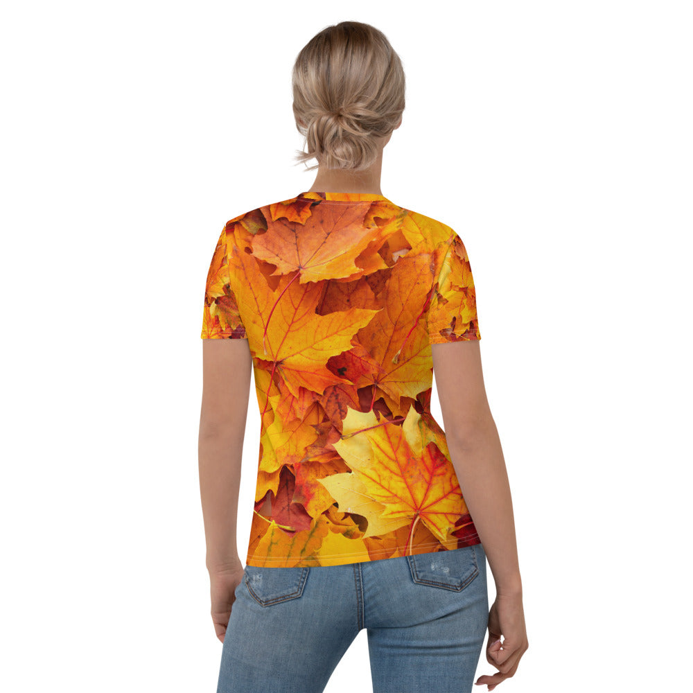 Fiery Autumn Leaves Printed T-shirt