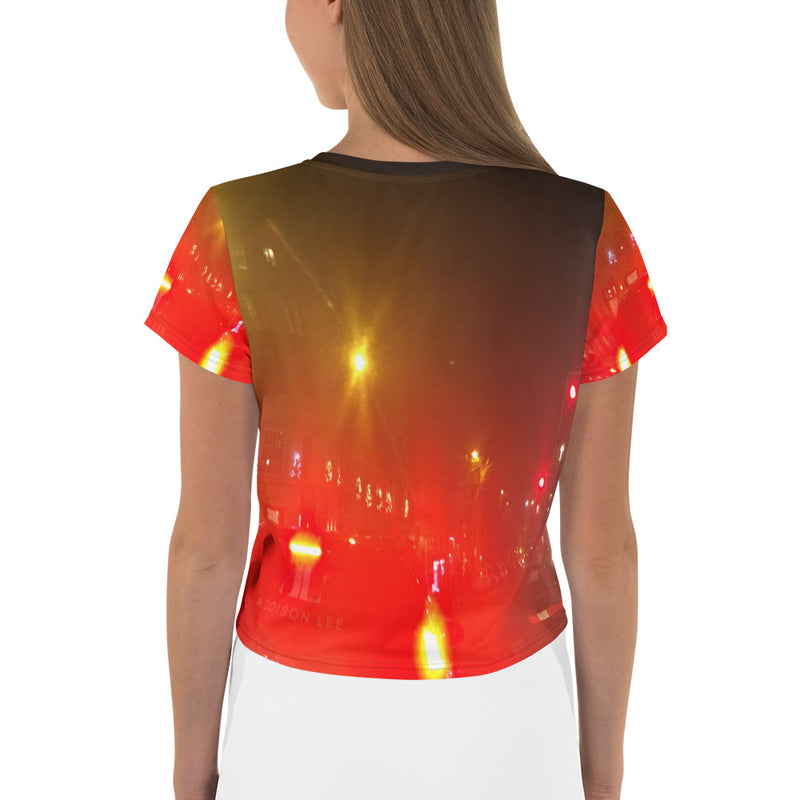 """London by Night"" Printed Crop T-Shirt"
