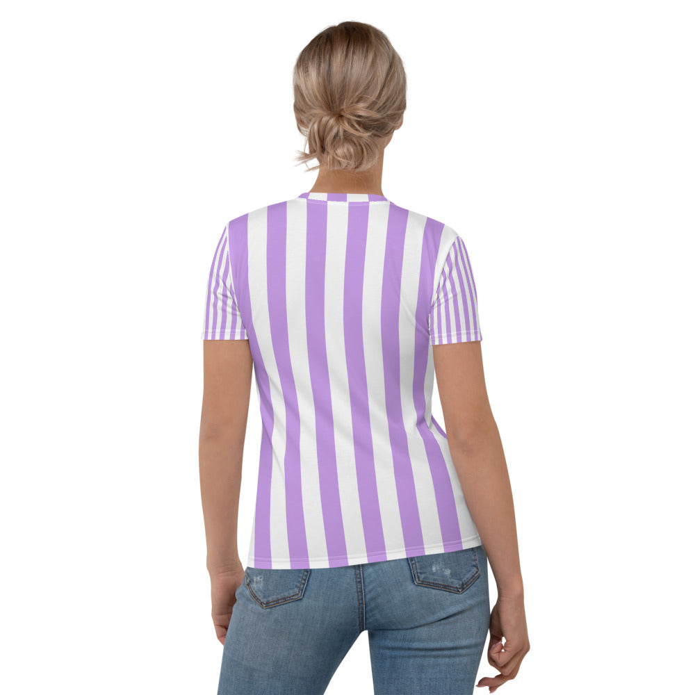 Purple & White Stripe Printed T-shirt