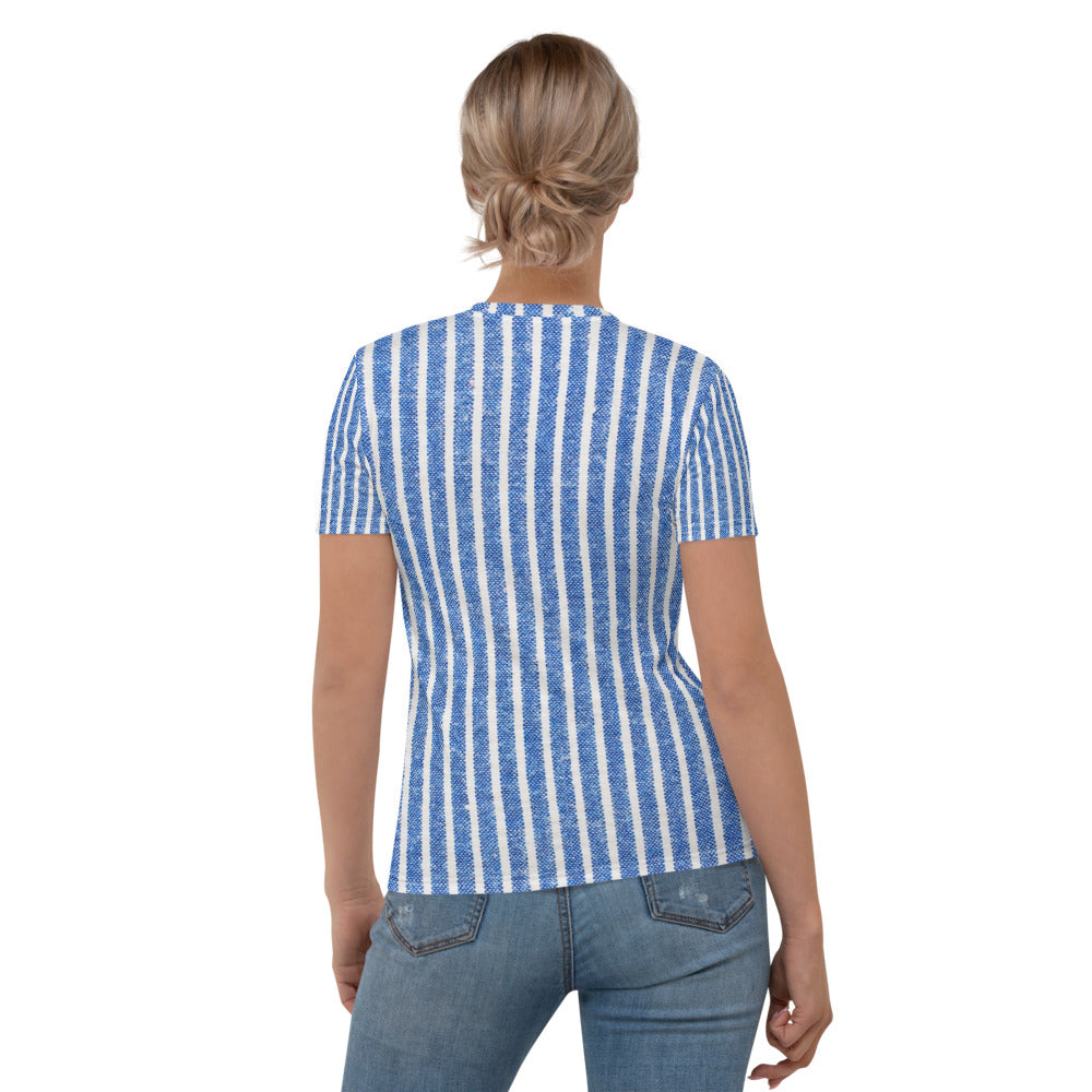 Blue & White Stripe Printed T-shirt