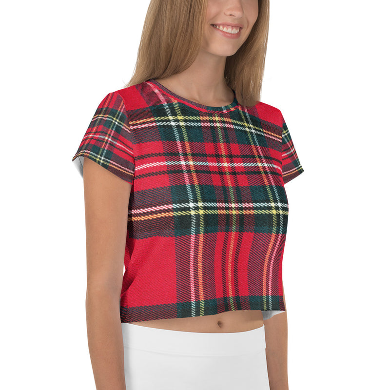 Red Tartan Printed Crop T-Shirt