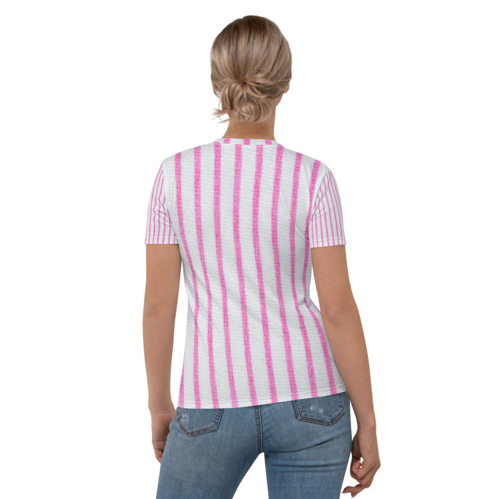 Pink & White Stripe Printed T-shirt