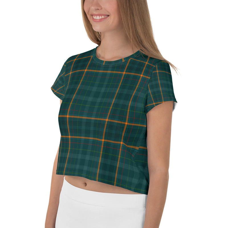 Green Tartan Printed Crop T-Shirt