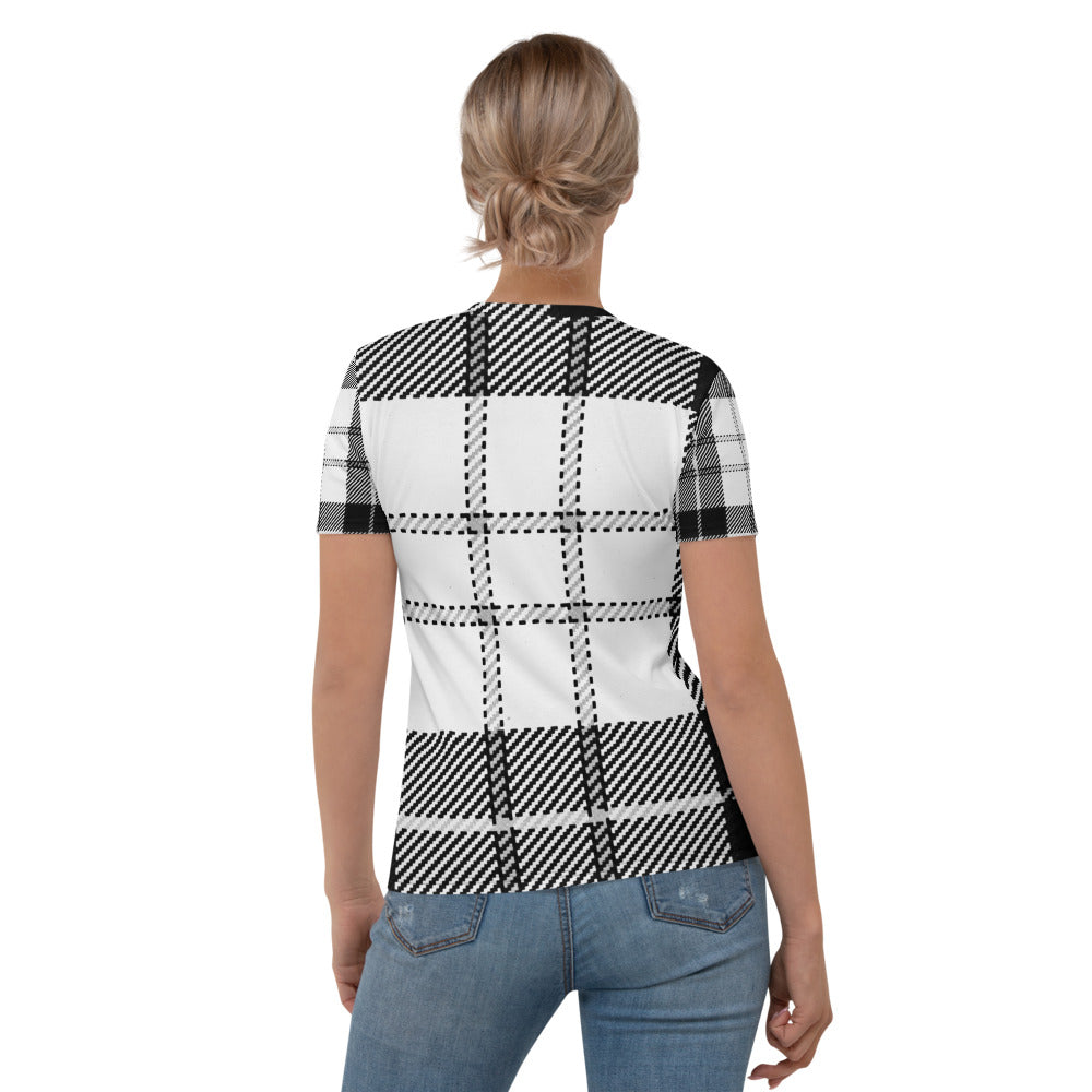 Black & White Wool Look Printed T-shirt