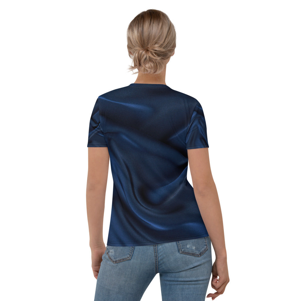 Navy Silk Look Printed T-shirt