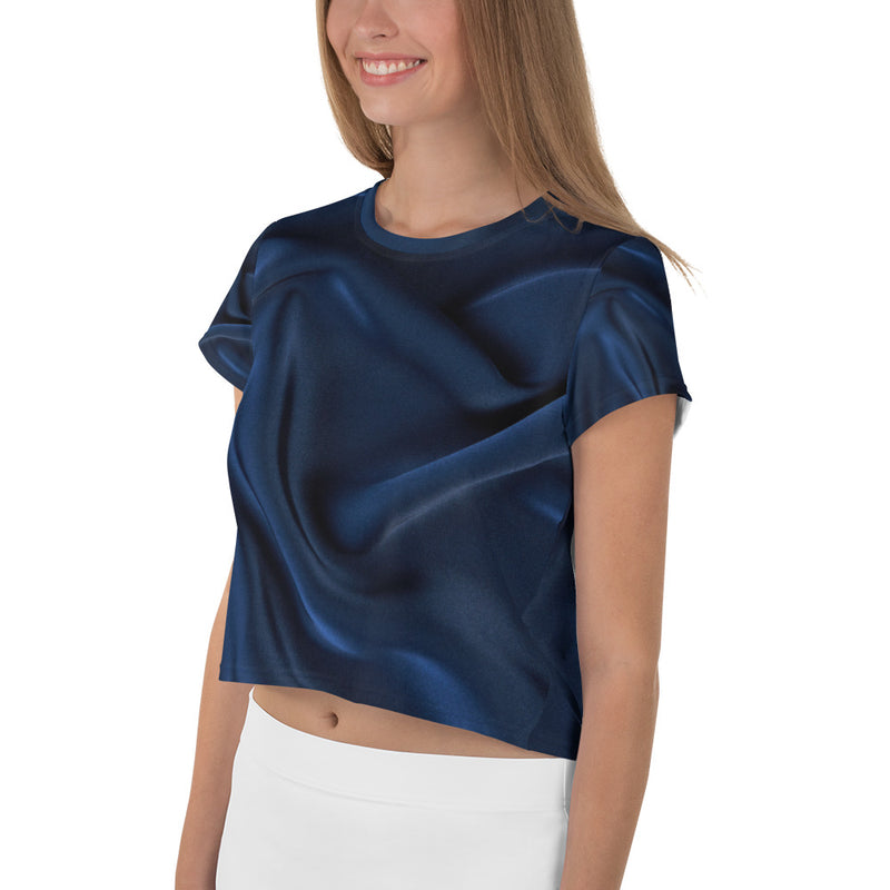 Blue Silk Look Printed Crop T-Shirt