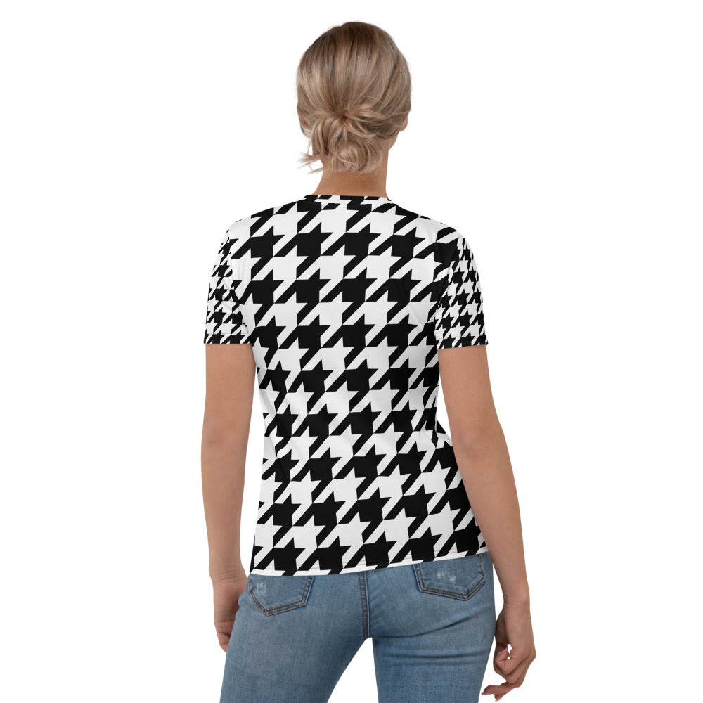 Houndstooth Check Printed T-shirt