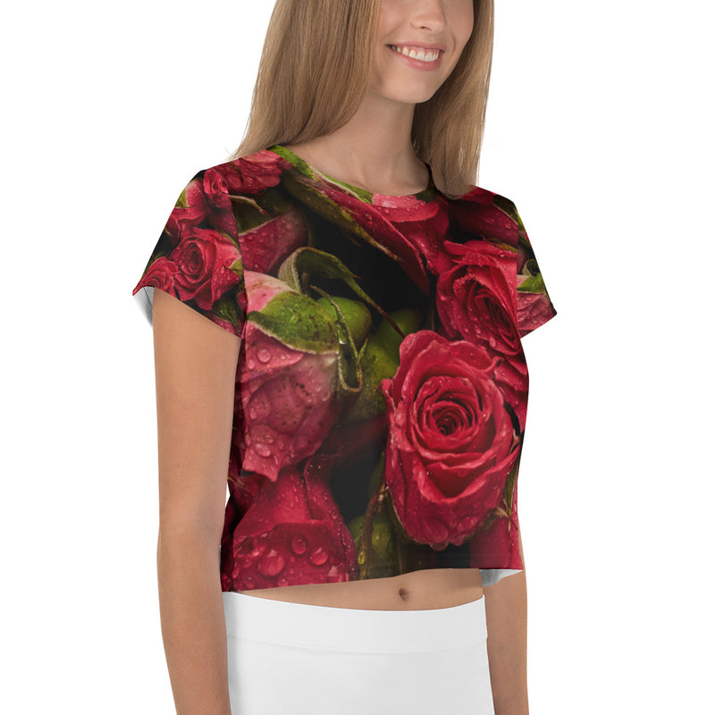 Red Roses Printed Crop T-Shirt
