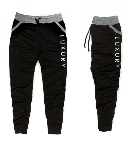 Men's Luxury Black with Heather Gray  trim Jogger Pants - Luxury Brand LA - Shop Latest Trends and Hottest Apparel from Luxury Brand LA