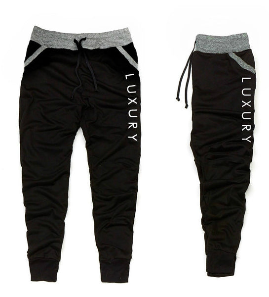 Men's Luxury Charcoal Gray and Black trim Jogger Pants - Luxury Brand LA - Shop Latest Trends and Hottest Apparel from Luxury Brand LA