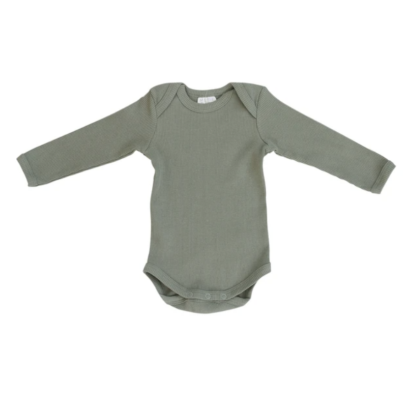 Organic Cotton Long Sleeve Ribbed Bodysuit - Green