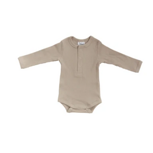 OC Snap LS Ribbed Bodysuit-Oatmeal