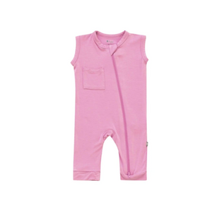 Zipper Sleeveless Romper-Bubblegum
