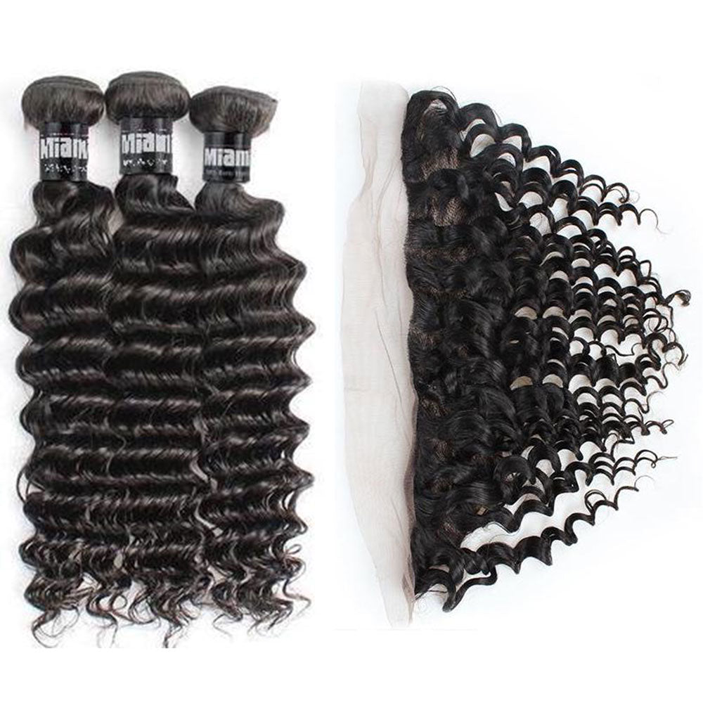 3 Paquets de Tissage  + Lace Frontal Deep Wave