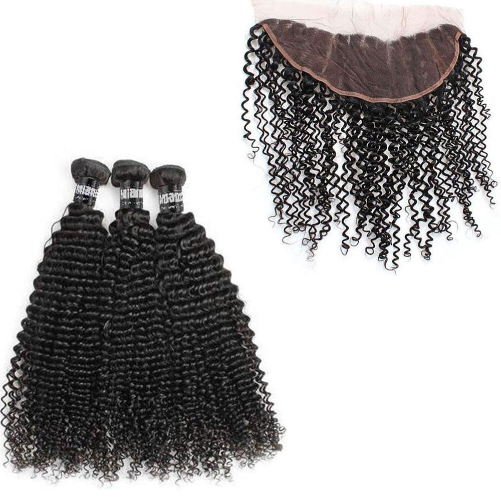 3 Paquets de Tissage  + Lace Frontal Kinky Curly