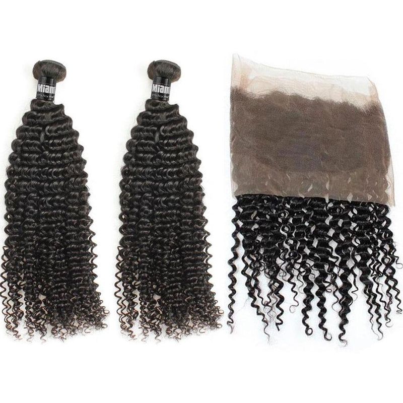 2 Weaving Packages + Lace Frontal 360 ° Kinky Curly