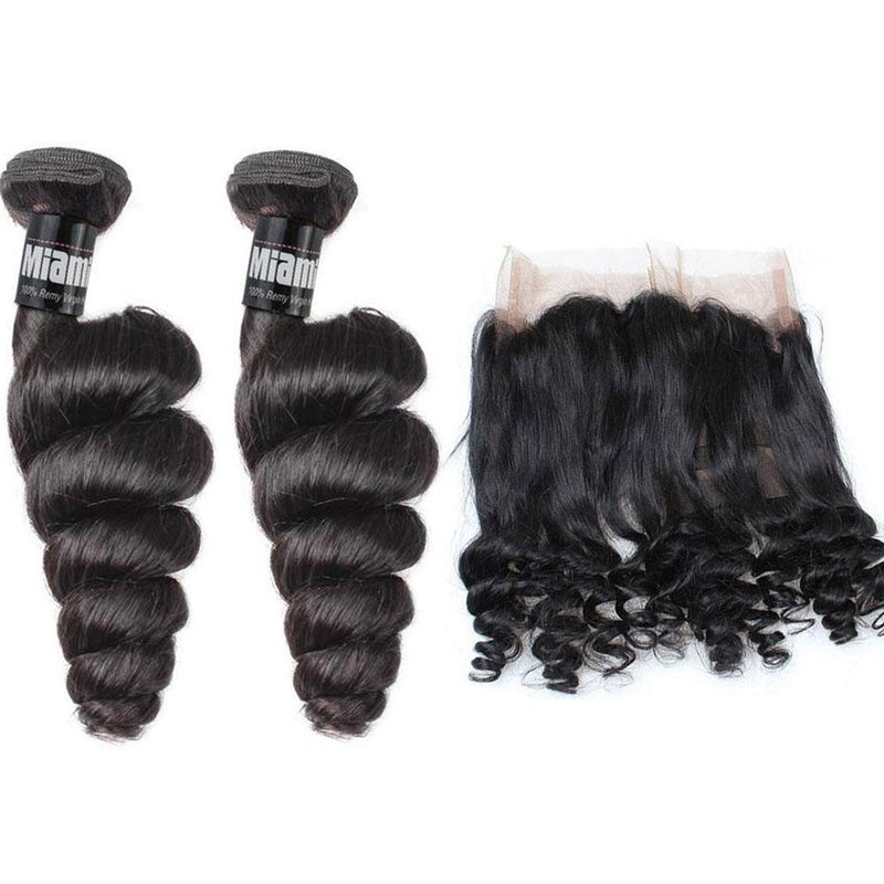 2 Weaving Packages + Lace Frontal 360 ° Loose Wave