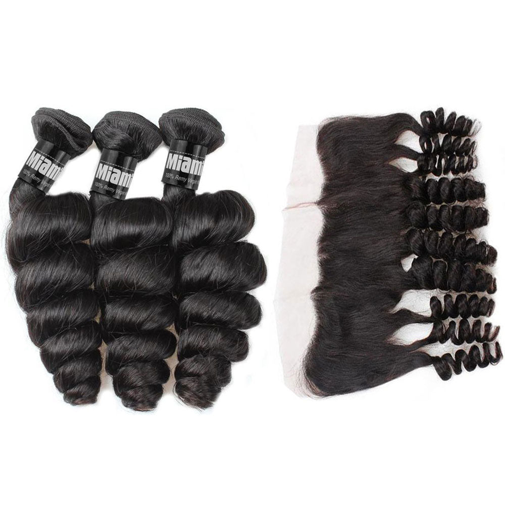 3 Paquets de Tissage  + Lace Frontal Loose Wave