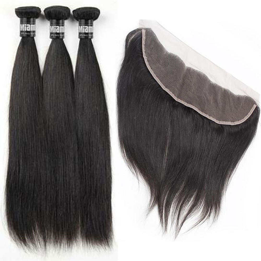 3 Paquets de Tissage  + Lace Frontal Straight