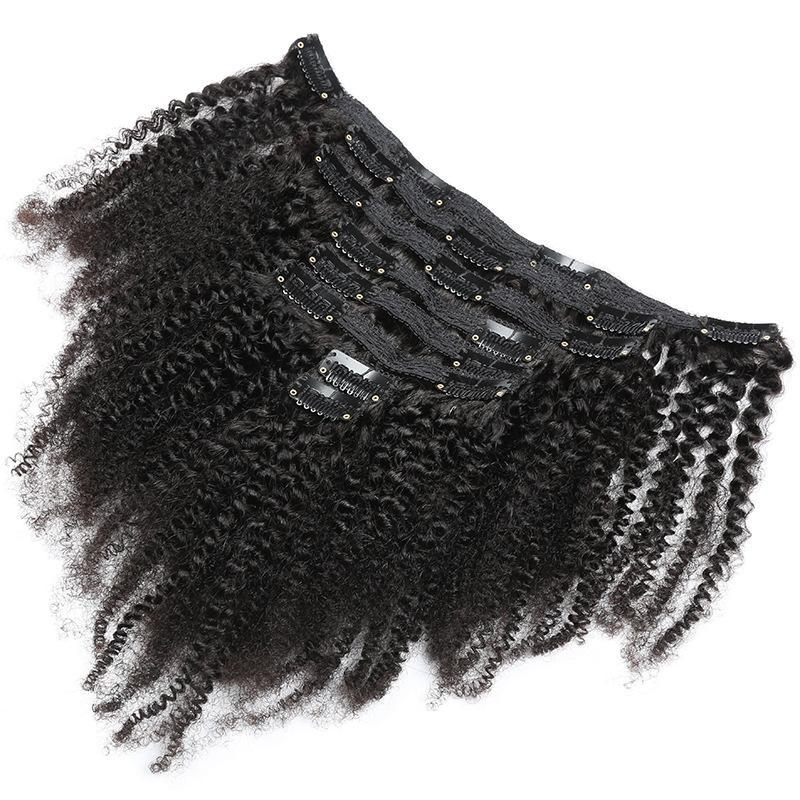 Afro Kinky Curly Dark Brown Clips Extensions Kit