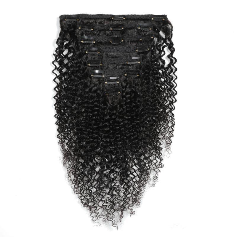 Kinky Curly Dark Brown Clips Extensions Kit