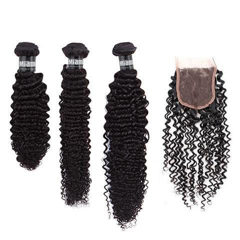 3 Packs of Gradient Weave + Closure Kinky Curly