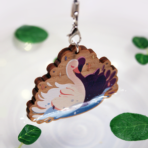 Gay Swans Wooden/Acrylic Charm
