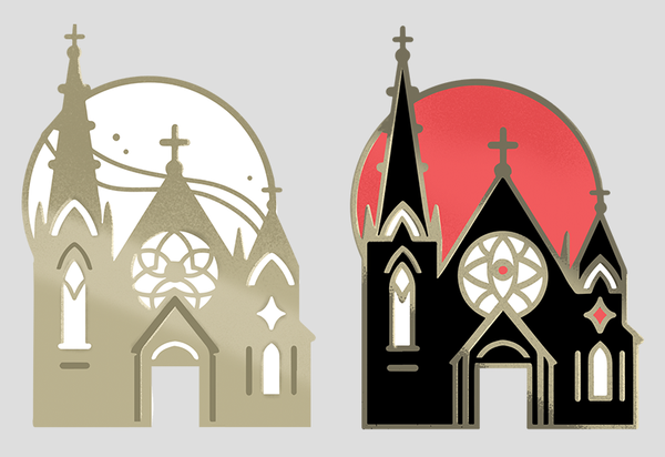 Tiny Church Enamel Pins