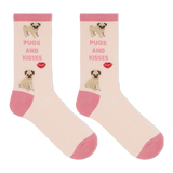 Hot Sox Women's Pugs And Kisses Crew Socks