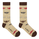 K. Bell Men's Planes Crew Socks - Made in the USA