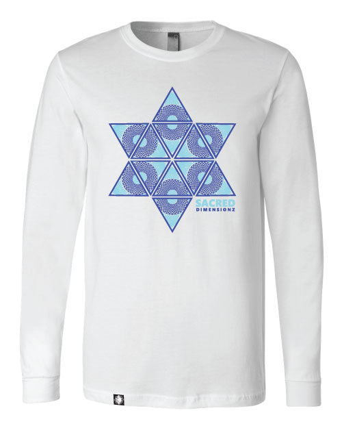 Vibrational Highway - Long Sleeve - White w/ Blue on Blue