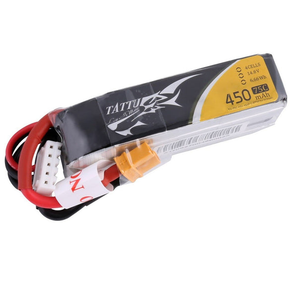 Tattu 450MAH 14.8V 4S 75C LIPO BATTERY XT30 - Long Size for H Frame