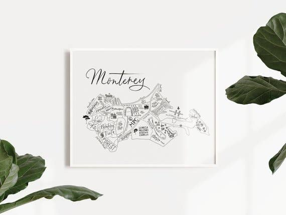 Monterey map print by Traveling Calligrapher