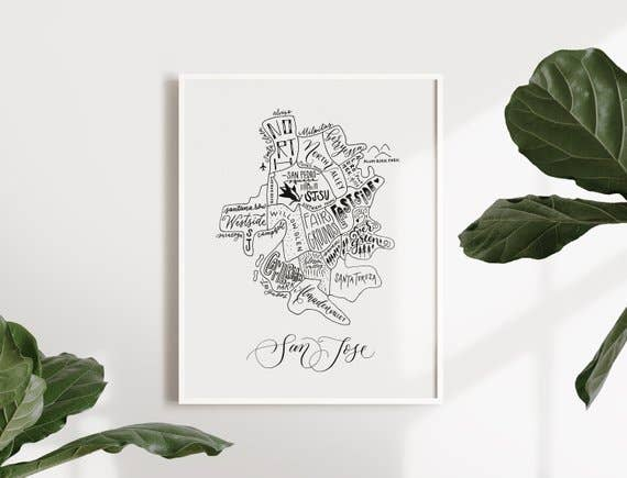 San Jose map print by Traveling Calligrapher