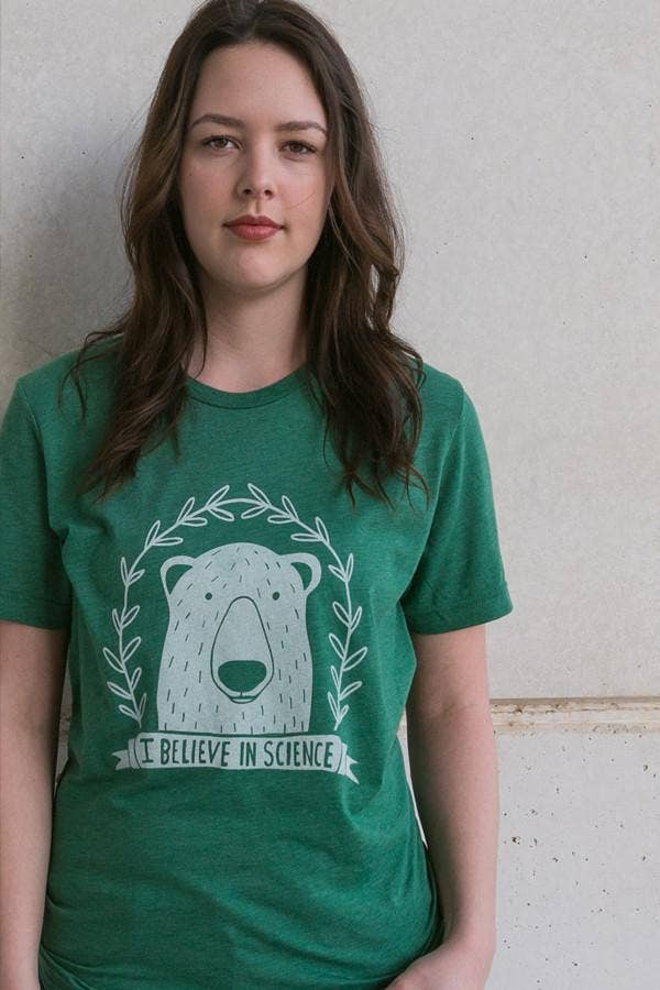 I believe in science polar bear green shirt