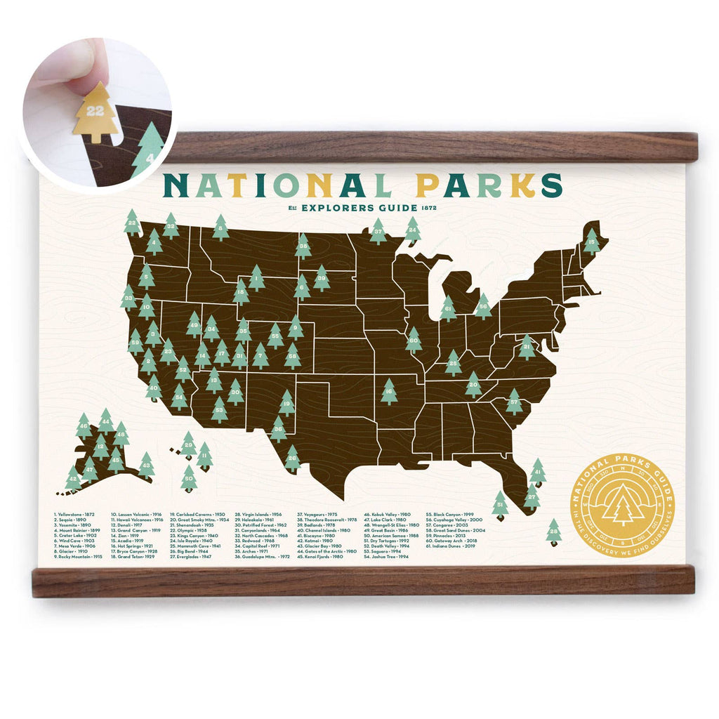 National Park Map with stickers