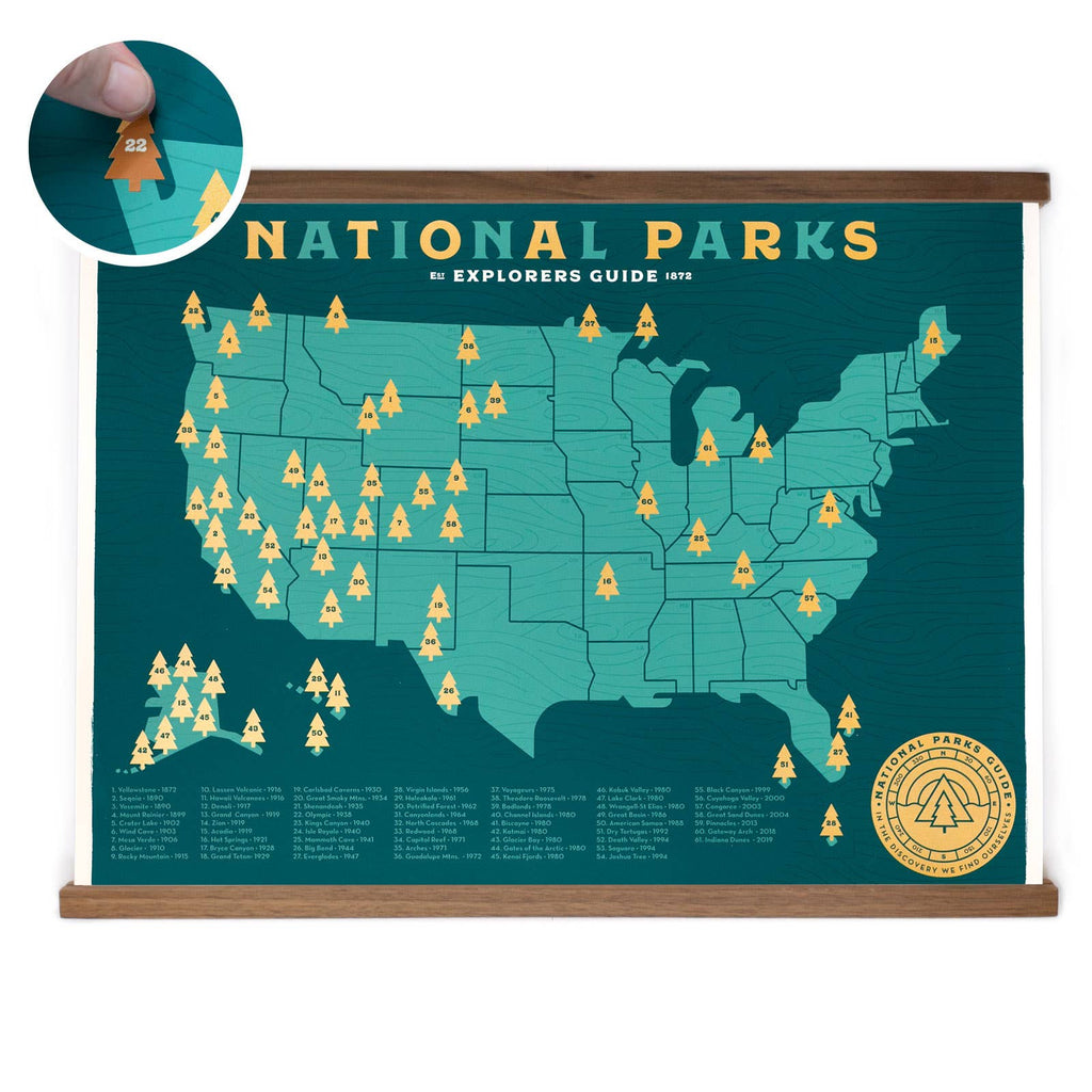 National Parks checklist with stickers from Ello There